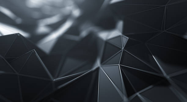 Abstract Geometric Surface (Black) 3D rendered abstract background, perfectly usable for a wide range of topics related to technology, construction or design. monochrome stock pictures, royalty-free photos & images