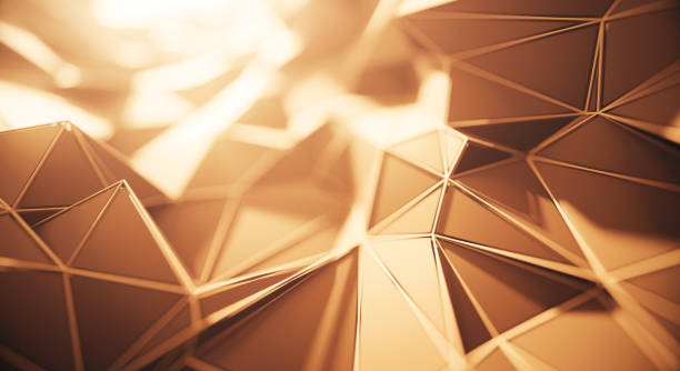Abstract Geometric Surface (Gold Colored) stock photo