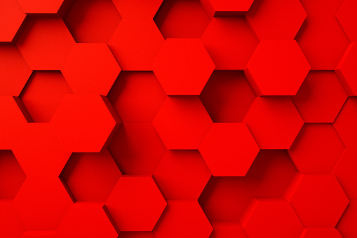 486421008 istock photo Abstract geometric texture of randomly extruded hexagons backgrounds, 3d rendering, Futuristic abstract background, commercial advertising. 1187550186