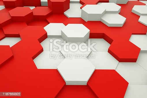 486421008istockphoto Abstract geometric texture of randomly extruded hexagons backgrounds, 3d rendering, Futuristic abstract background, commercial advertising. 1187550322