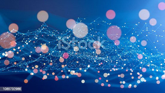 istock Abstract geometric wire-frame data landscape 1085732986