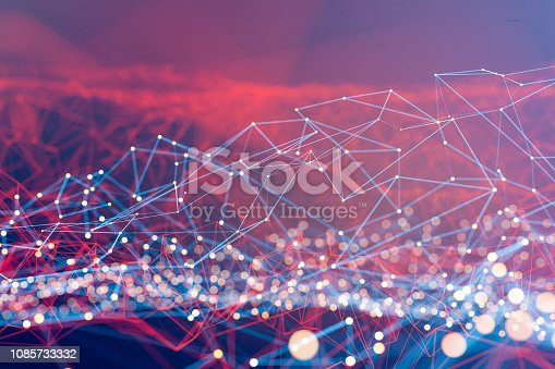 istock Abstract geometric wire-frame data landscape 1085733332