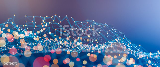 istock Abstract geometric wire-frame data landscape 1085736072