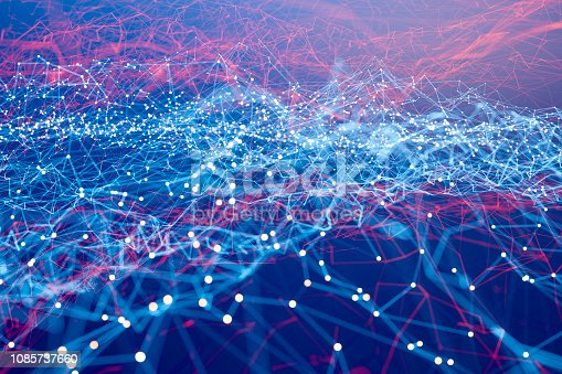 istock Abstract geometric wire-frame data landscape 1085737660