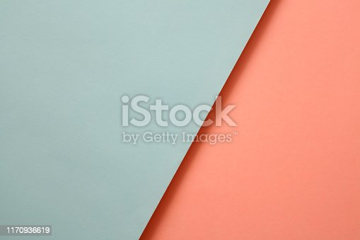 857920492istockphoto Abstract geometricpaper background in soft pastel blue and living colar colors 1170936619