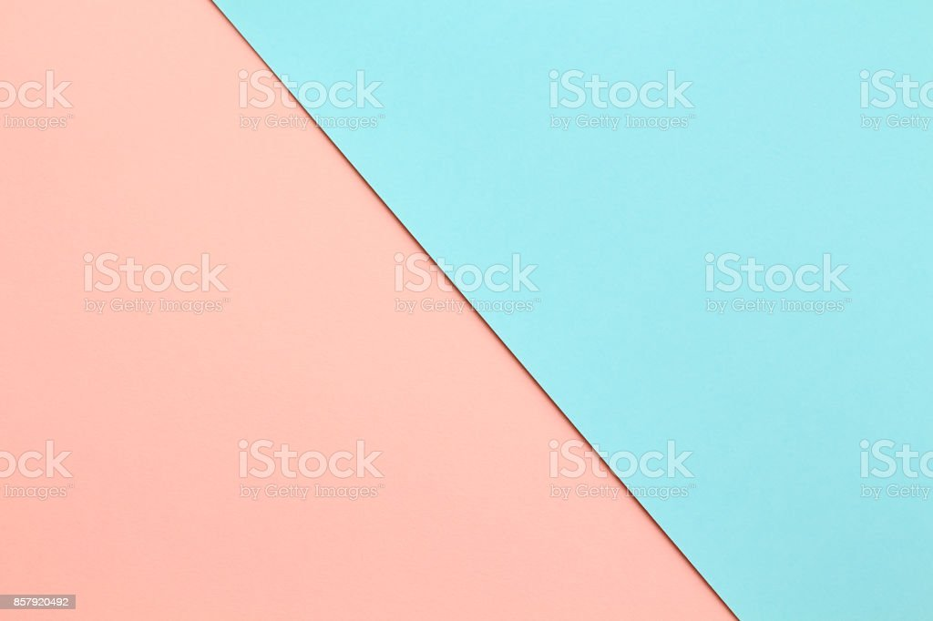 Abstract geometricpaper background in soft pastel pink and blue colors stock photo