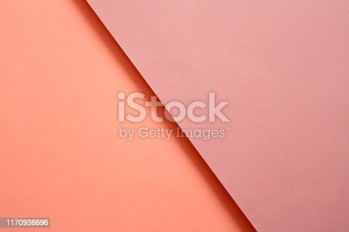 857920492istockphoto Abstract geometricpaper background in soft pastel pink and living colar colors 1170936696