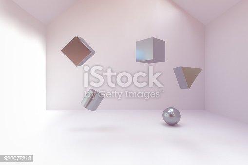 istock abstract geometry blocks in empty room 922077218