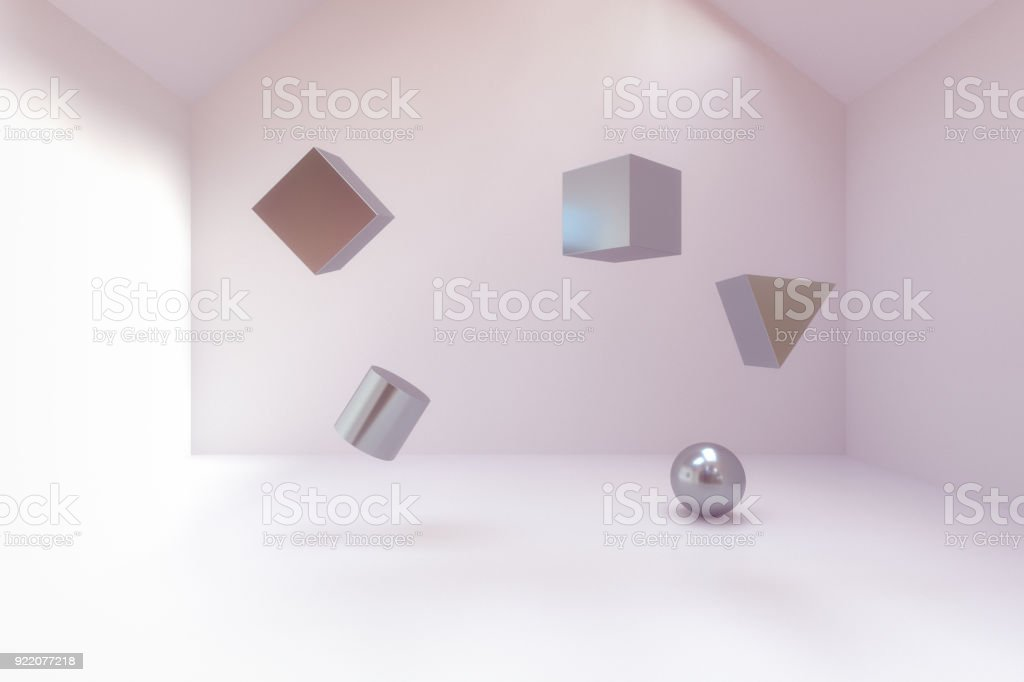 abstract geometry blocks in empty room stock photo