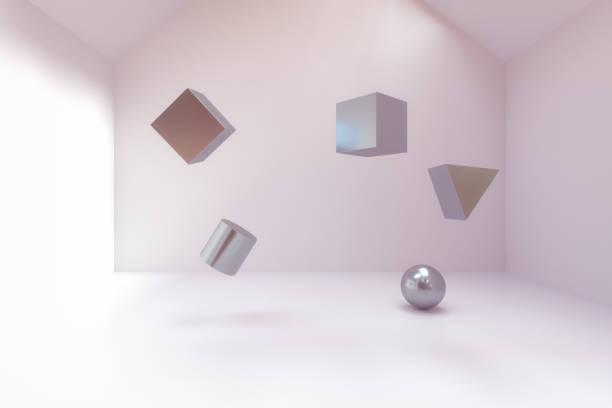 空の部屋で抽象的な幾何学ブロック ストックフォト