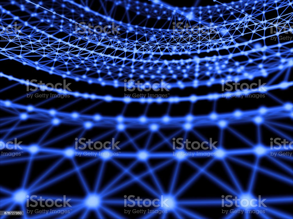 Abstract geometry surfaces, lines and points background, Used as digital wallpaper and technology background. 3d rendering stock photo