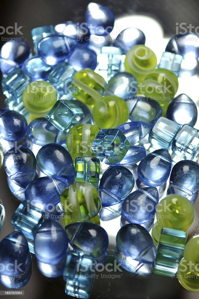 Abstract Glass Beads Shades of Blue Green Full Frame Background royalty-free stock photo