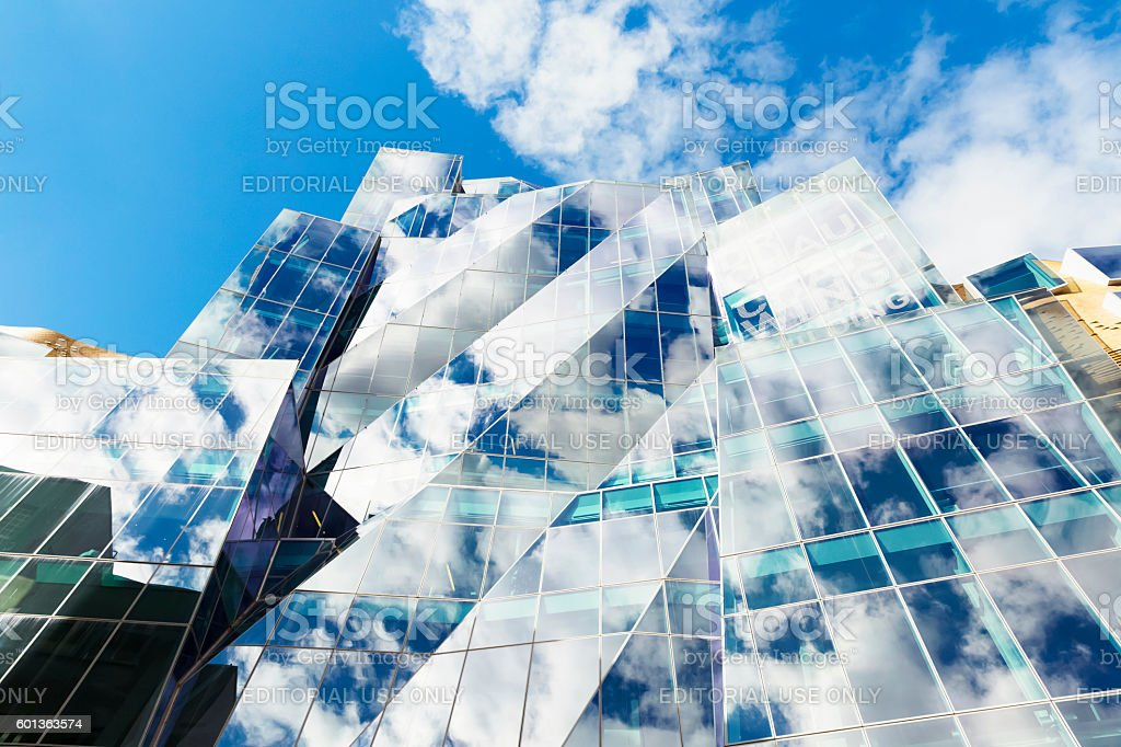 c3849e20942 Abstract Glass Building With Sky And Clouds Reflection Copy Space ...