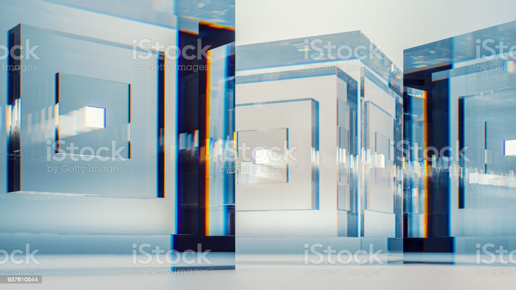 Abstract glass cubes stock photo