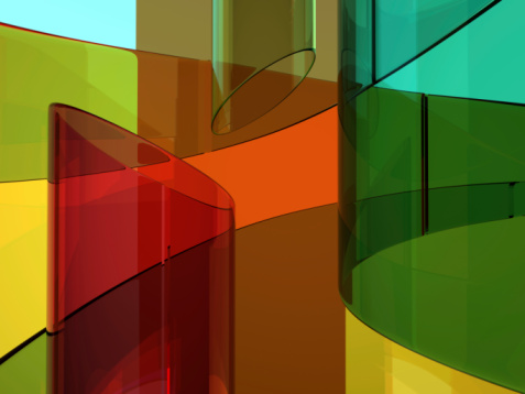 Some different glassy tubes. Abstract glass image. 3D modeling and rendering