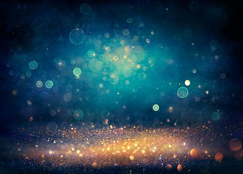 Abstract Dust Background - Golden, Black And Blue Defocused Lights - Vintage Toned