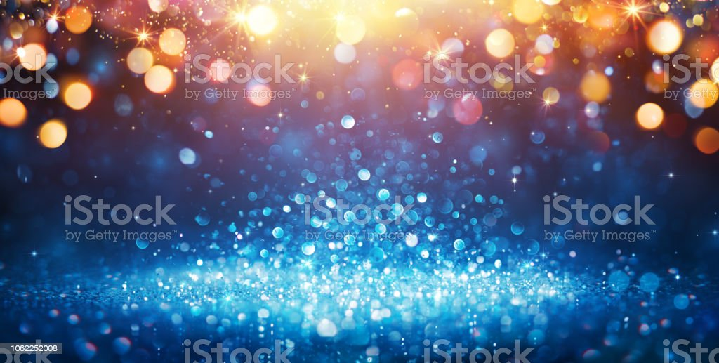 Abstract Glittering - Blue Glitter With Golden Christmas Lights And Shiny sparkling Background - Royalty-free Abstrato Foto de stock