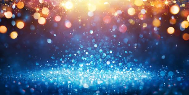 resumen brillan - azul brillo con oro navidad luces y brillante brillante fondo - fiesta fotografías e imágenes de stock