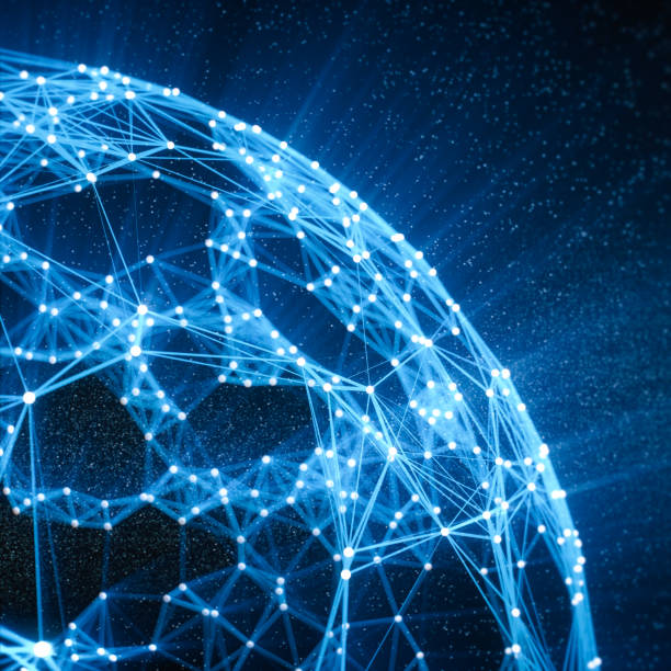 abstraktes globales netzwerk und unsere technologie-hintergrund - glasfaser telekommunikationsgerät stock-fotos und bilder