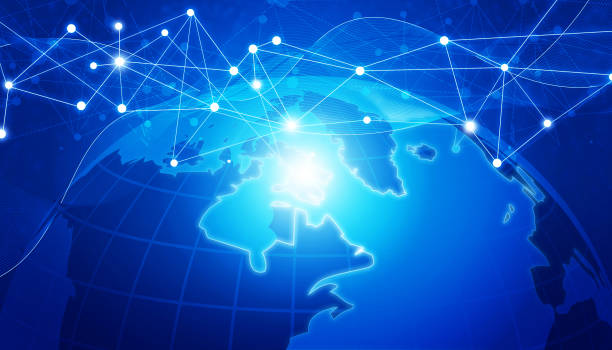 Abstract global network connection background stock photo