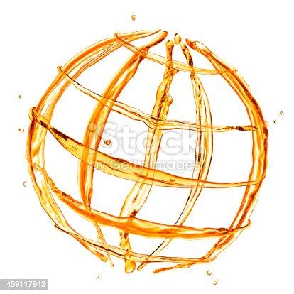 858282944istockphoto abstract globe from orange water splashes isolated on white 459117943