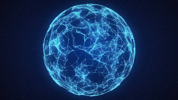 abstract globe network on space - plexus stock photos and pictures