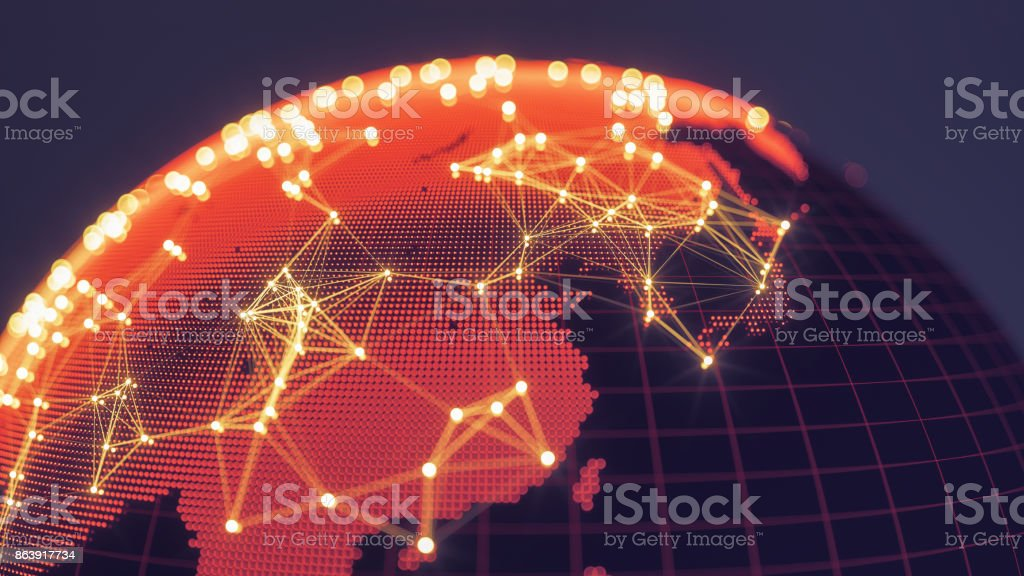 Mundo abstracto con redes que brilla intensamente - Asia oriental foto de stock libre de derechos