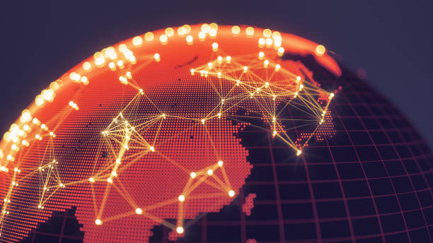 Abstract Globe With Glowing Networks - East Asia stock photo