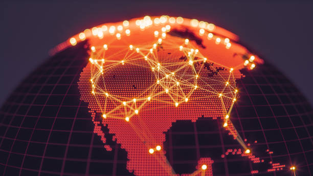 Abstract Globe With Glowing Networks-Nordamerika – Foto