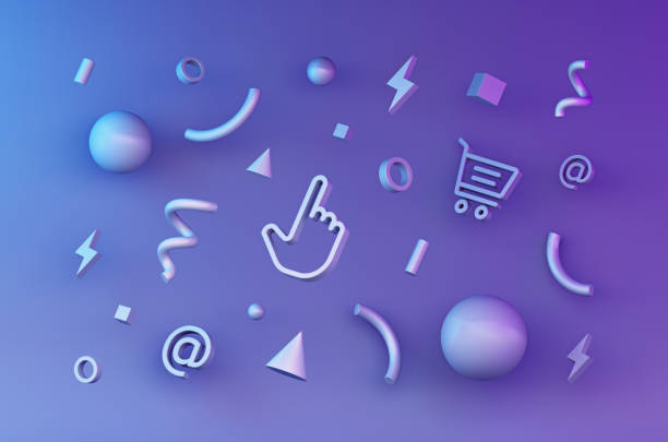 abstract glossy geometric internet shapes for web design. 3d render - advertising isometric stock pictures, royalty-free photos & images