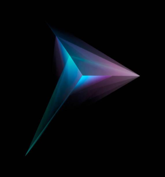 abstracte gloeiende multicolor tetraëder geïsoleerd op zwarte achtergrond - veelvlakkig stockfoto's en -beelden