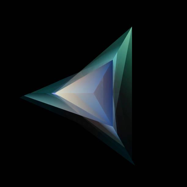 abstract gloeiende multicolor tetraëder geïsoleerd op zwarte achtergrond - veelvlakkig stockfoto's en -beelden