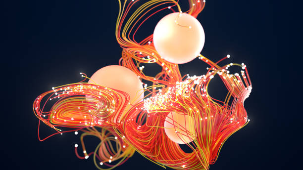 Abstract glowing spheres network stock photo