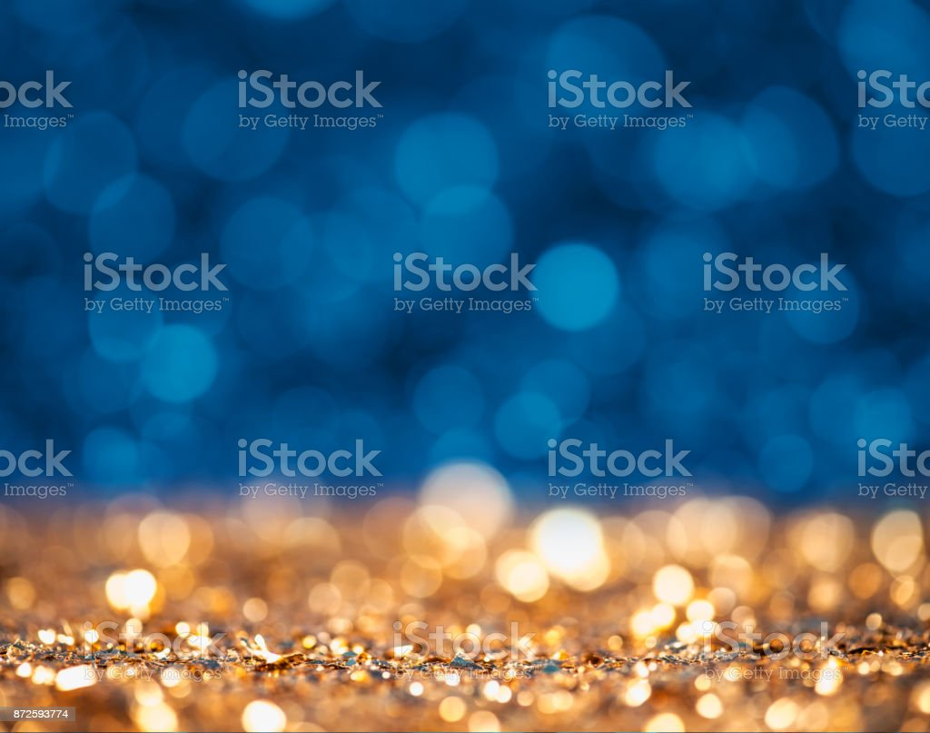 Gold und blau glitzernde Oberfläche abstrakt – Foto
