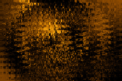 Abstract Gold Black Pixel Background Glitch Pattern Noise Yellow Brown Geometric Broken Texture Digitally Generated Image for banner, flyer, card, poster, brochure, presentation