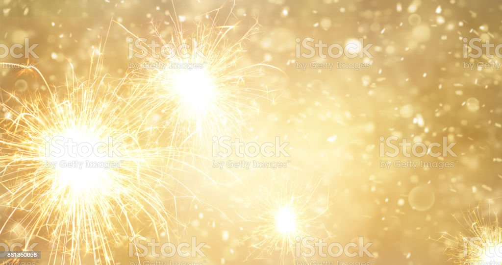 abstract gold bright fireworks and sparkler at new year background royalty free stock photo