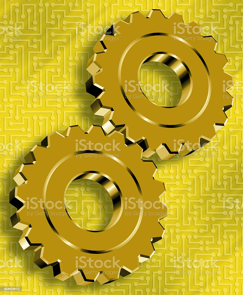 Abstract Gold Gears royalty-free stock photo