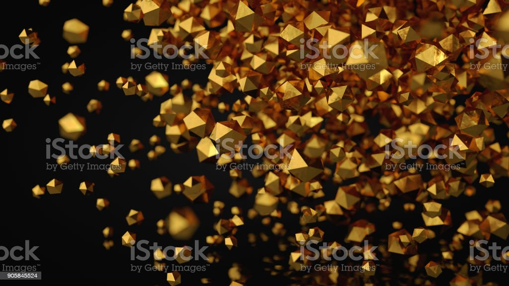 3D Abstract Gold Platonic Composition, Background, Rendering stock photo