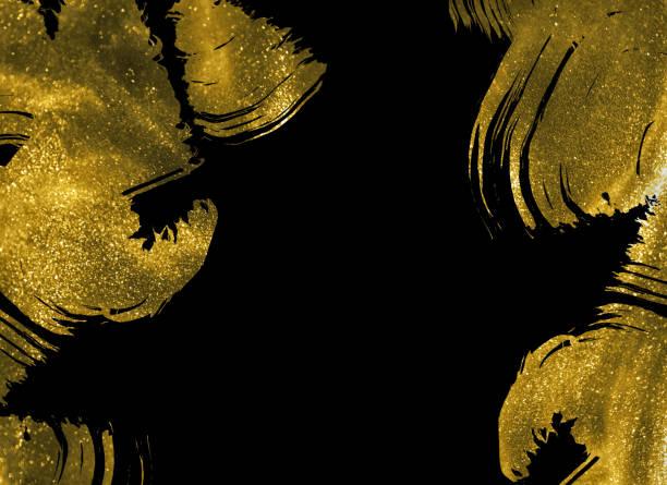 abstrakte goldschimmerstriche auf schwarzem hintergrund - kunst 1. klasse stock-fotos und bilder