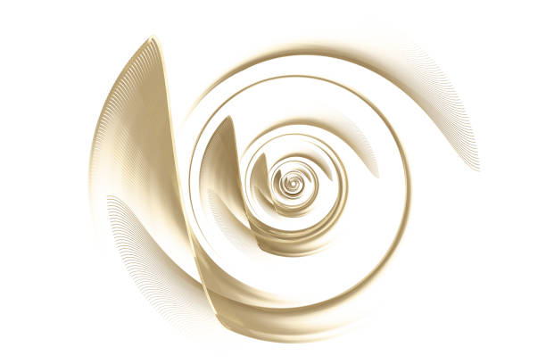 Abstract gold turbine blades Fractal Spiral pattern Gold Turbine Jet Engine Computer generated image of abstract golden turbine on white background. Digital illustration. Fractal Spiral pattern. Technological background. Turbine blades. propeller stock pictures, royalty-free photos & images