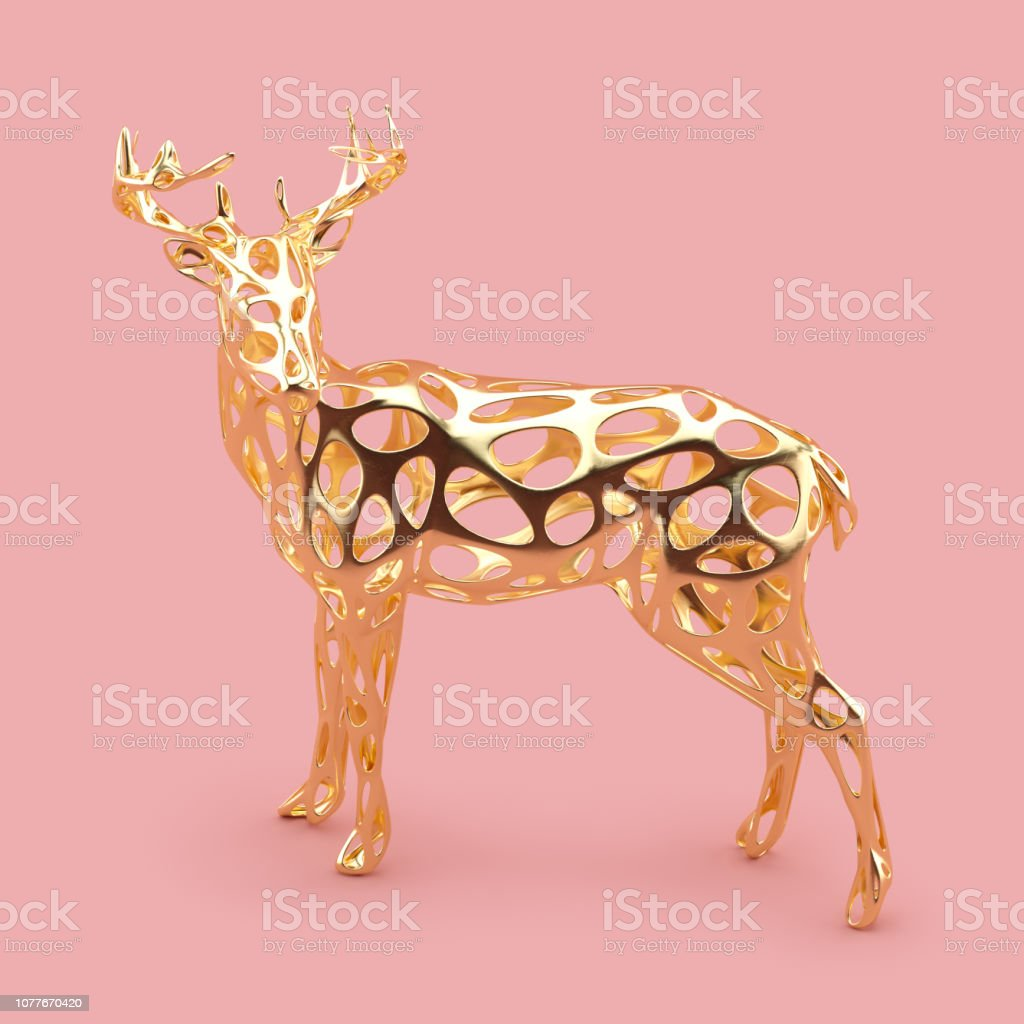 Golden Christmas reindeer figurine isolated on rose gold background....