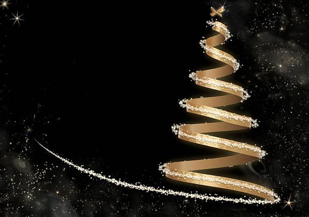 抽象的なゴールデンクリスマスツリーカード ストックフォト