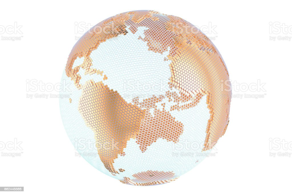 Abstract golden globe Earth, 3D rendering isolated on white background stock photo