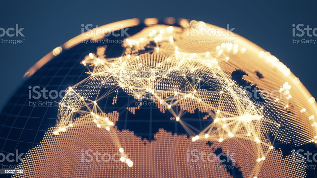 Abstract Golden Globe With Glowing Networks - Europe - foto stock