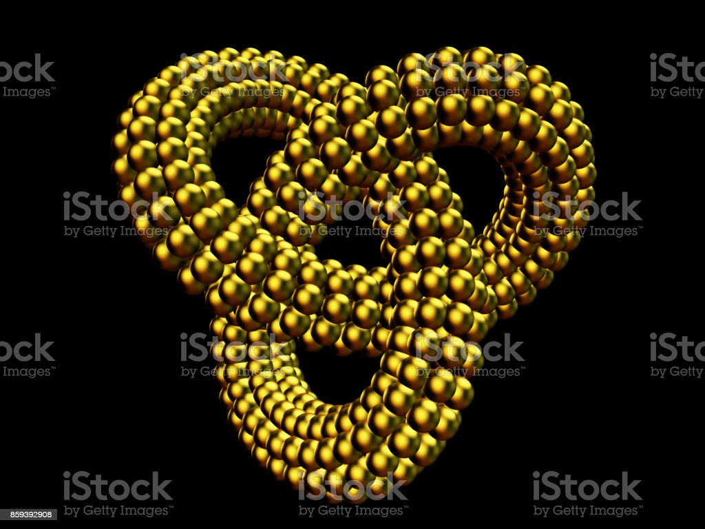 abstract golden infinity object made of many small golden spheres stock photo