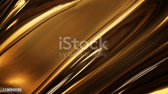 621262396 istock photo Abstract golden liquid smooth background with waves luxury. 3d illustration 1136940783