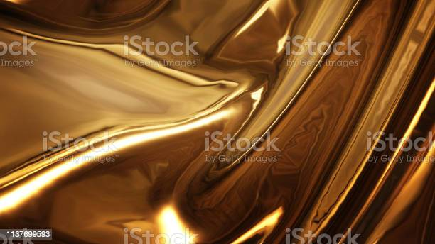 Photo of Abstract golden liquid smooth background with waves luxury. 3d illustration