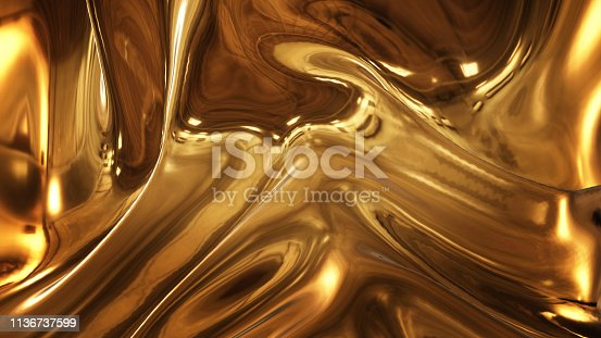 621262396 istock photo Abstract golden liquid smooth background with waves luxury. 1136737599