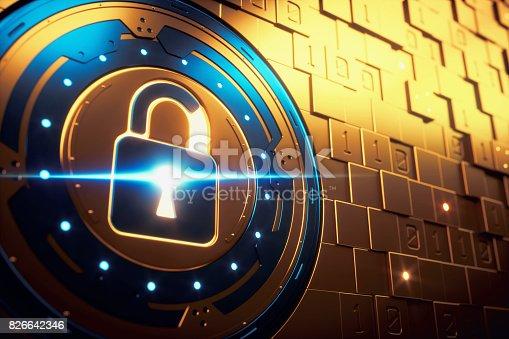istock Abstract Golden Security Mechanism Vault 826642346