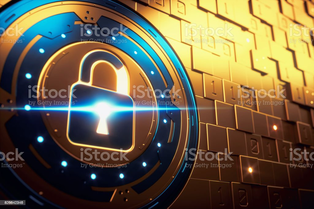 Abstract Golden Security Mechanism Vault stock photo